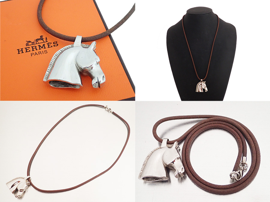 Hermes HERMES accessories hose head motif Horsehead BIJOUTERIE FANTAISIE silver x dark brown metal material x leather constant seller popularity necklace pendant Lady's men - e26169