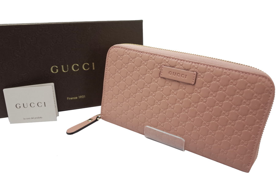 048dd0a57cd6 Gucci  Gucci  micro GG micro Gucci sima round fastener long wallet wallet  long wallet round fastener Lady s light pink x gold metal fittings leather   new ...