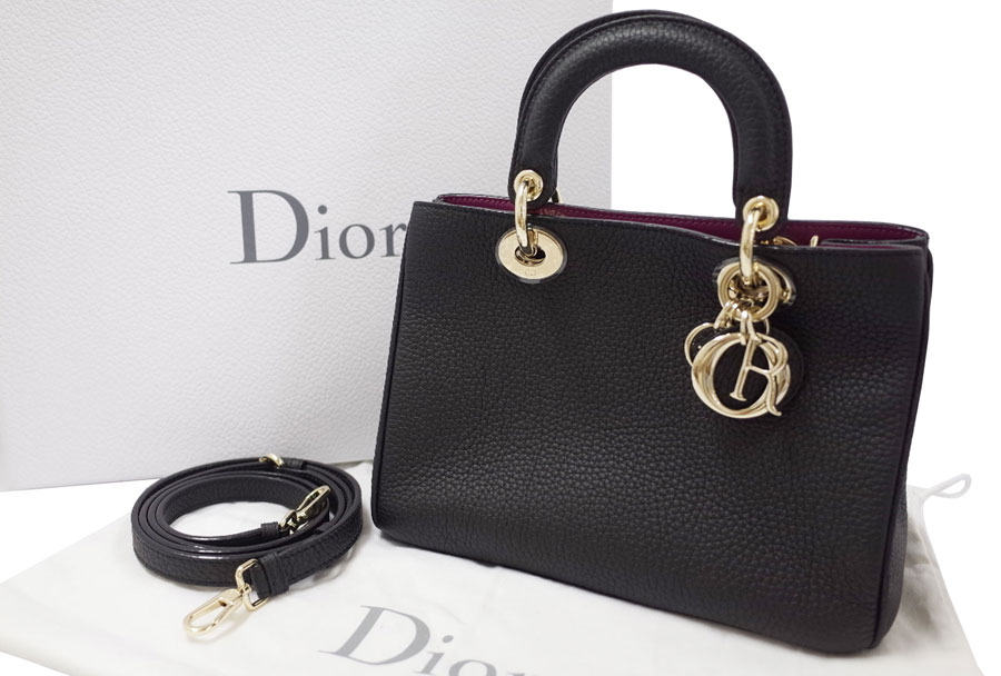 f1bd147ac610 BrandValue: Dior Dior バッグディオリッシモ Diorissimo mini-bag black x Rose Andy Ann  x silver metal fittings avian Yong leather-free recommended beautiful ...
