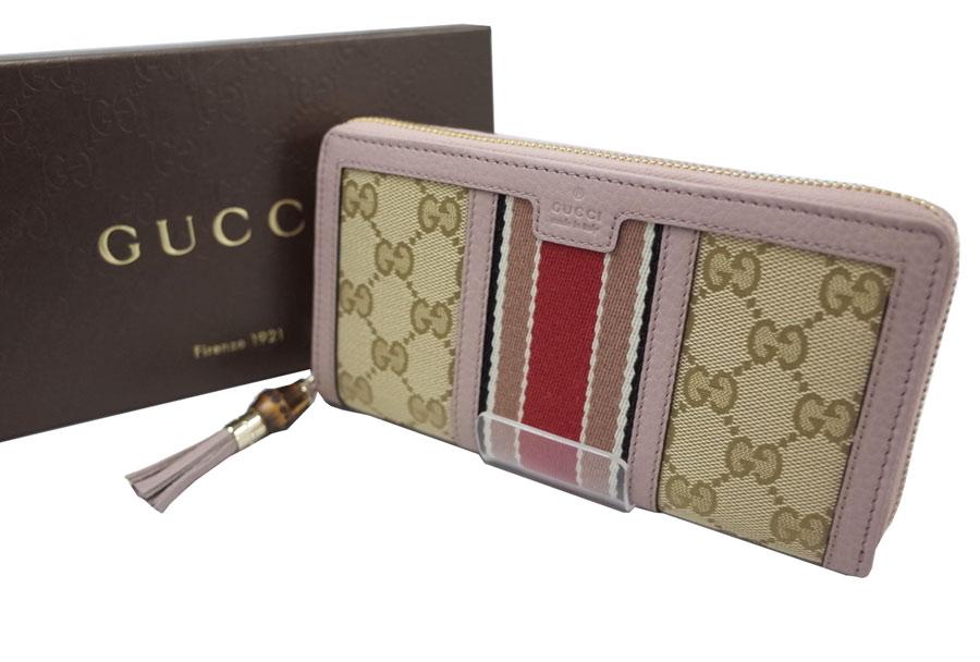 d000ca36c453 Gucci Gucci wallet bamboo tassel GG canvas RANIA round fastener long wallet  pink x beige x ...