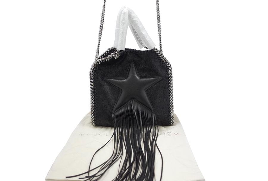 Display New Article 100 Of Stella McCartney STELLA McCARTNEY Fala Seawife Fringe Star Mini Tote Bag Shoulder Ladys Metal Black X
