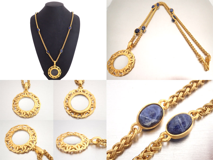 a167a639fb57a5 ... Chanel CHANEL accessories here mark CC Logo vintage Vintage long chain  loupe necklace bijou gold x ...