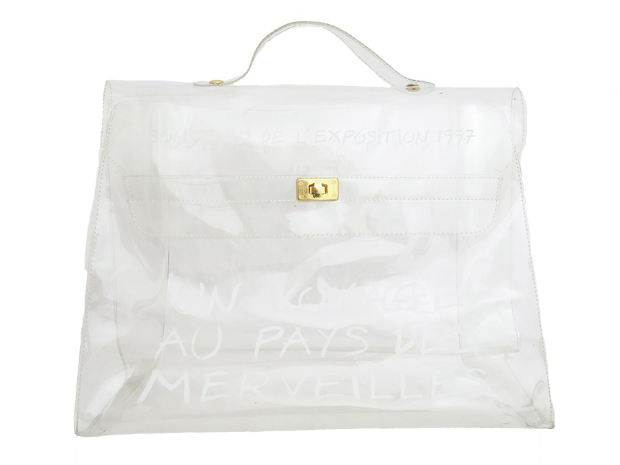 462cada660e4  used  Hermes  HERMES  vinyl Kelly Vinyl Kelly SOUVENIR DE L EXPOSITION  1997 novelty-limited bag handbag Lady s Clear transparent clear x gold vinyl  x metal ...