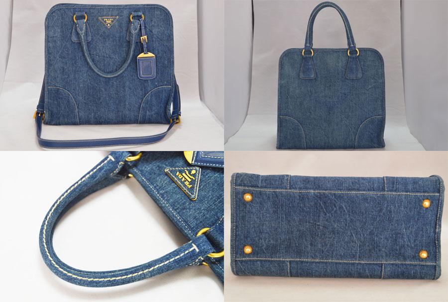 81808e64301c ... low price used prada prada triangle logo bag handbag 2way bag lady blue  x gold metal