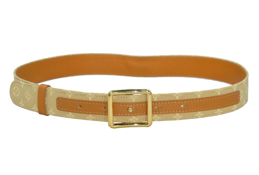 410af3e4c362  used  Louis Vuitton  Louis Vuitton  monogram mini-orchid sun Tulle belt  waist belt canvas belt Lady s beige x light brown x gold metal fittings  leather x ...