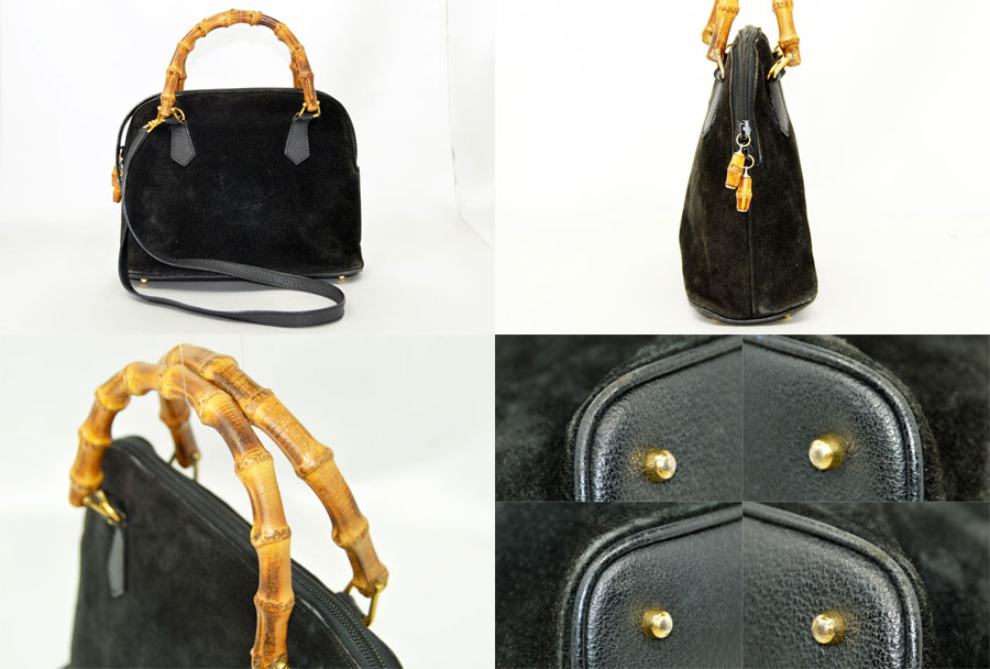 ddb185f4d10d  used  Gucci  Gucci  bamboo bag handbag shoulder bag Lady s black x gold  metal fittings suede x leather x metal material constant seller popularity