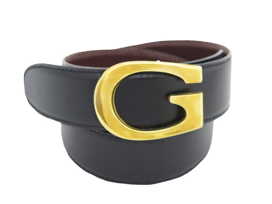 3d74fffb45f  used  It is Gucci  Gucci  G logo belt reversible belt Lady s black x brown  leather x gold metal fittings soot