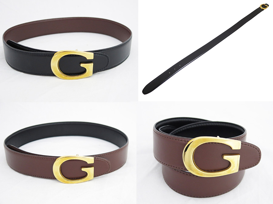 88aa7e65b18  used  It is Gucci  Gucci  G logo belt reversible belt Lady s black x brown  leather x gold metal fittings soot