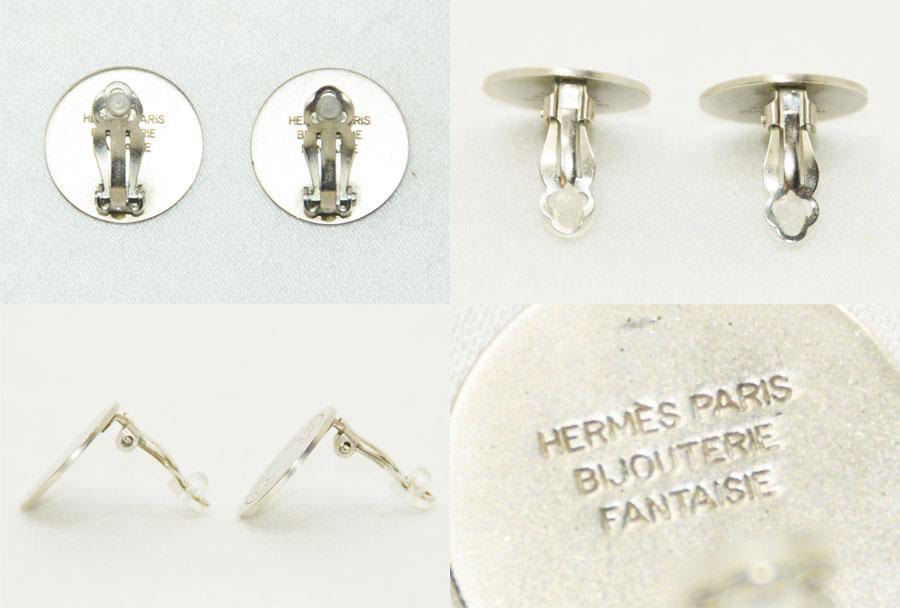 16b519937 ... usa used hermes hermes bijouterie fantaisie earrings round earrings  silver earrings ladys mat silver metal material
