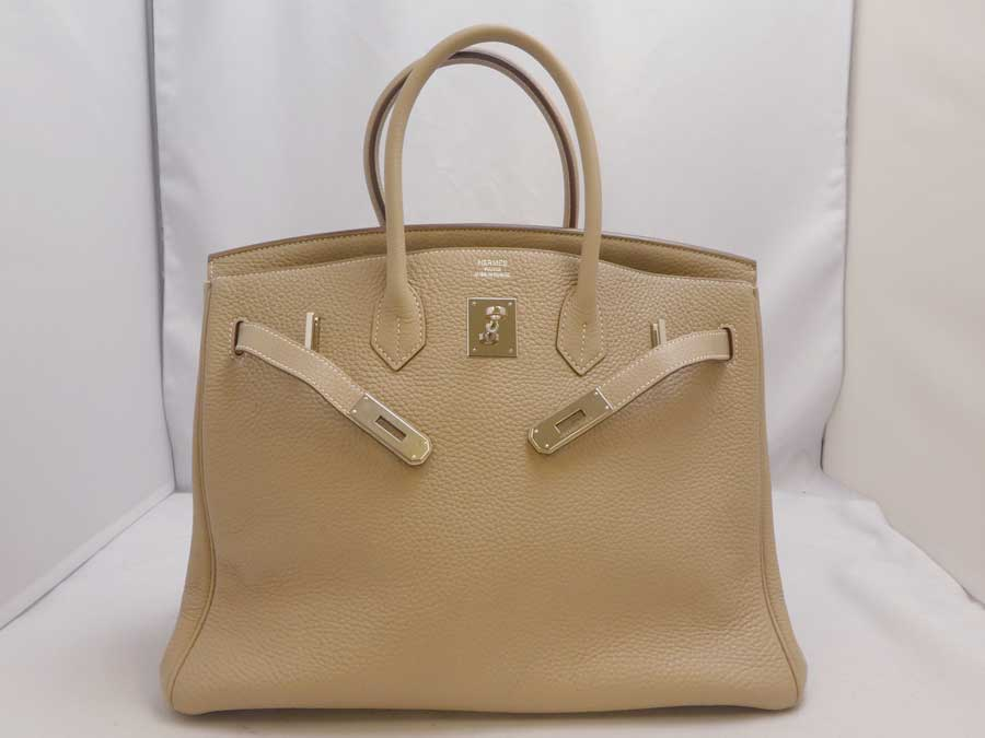3205df255b27  beautiful article  Hermes  HERMES  Birkin 35 □ Q carved seal handbag  Birkin 35 Taurillon Clemence Argile Al Jill beige system avian Yong  Clement s leather ...