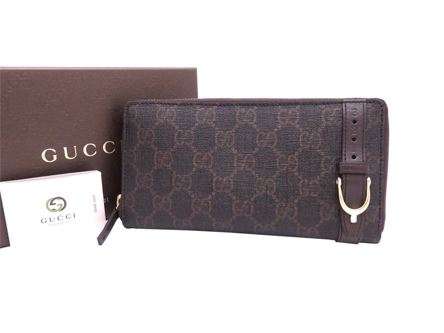 b78271f42c5  beautiful article  It is Gucci  GUCCI  GG pattern Nice wallet long wallet  round fastener long wallet Lady s men dark brown canvas x leather  used