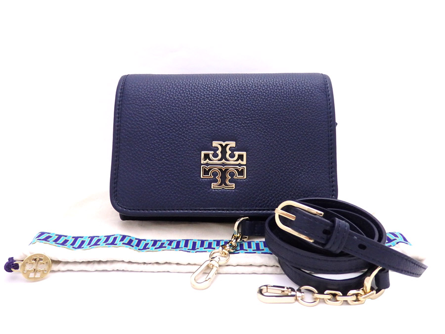 e4cc3eedc1e0  unused  It is a Tolly Birch  TORY BURCH  logo 2Way bag shoulder bag clutch  bag Lady s navy x gold metal fittings leather x metal material  used
