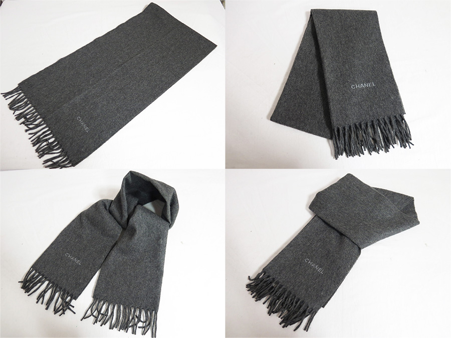 chanel scarf. 100% of chanel chanel scarf logos thor charcoal gray cashmere lady\u0027s men\u0027s basic status cheap
