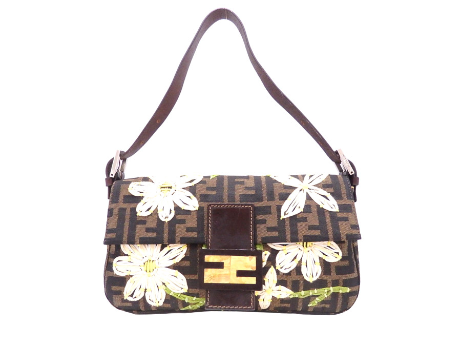 301b87366b75 Fendi FENDI bag baguette brown x beige x silver metal fittings canvas x  embroidery x straw shoulder bag one shoulder Lady s - e29208