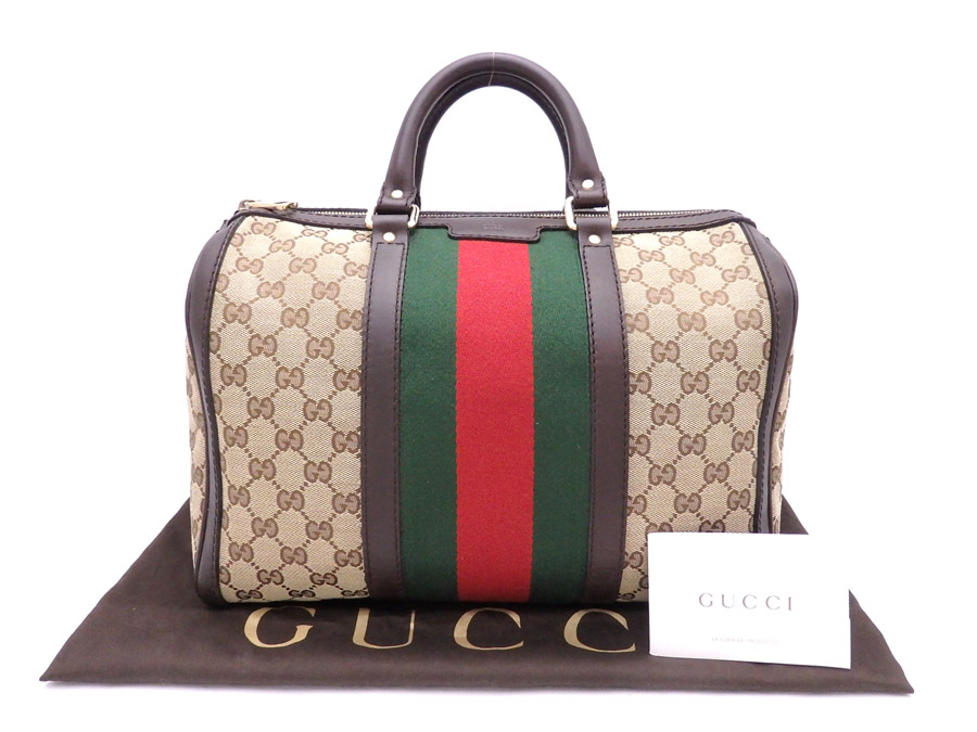there is reason  It is Gucci  Gucci  GG canvas medium vintage Web bag  handbag Boston bag Lady s men brown x red x green x gold metal fittings  canvas x ... 5c3665d2c