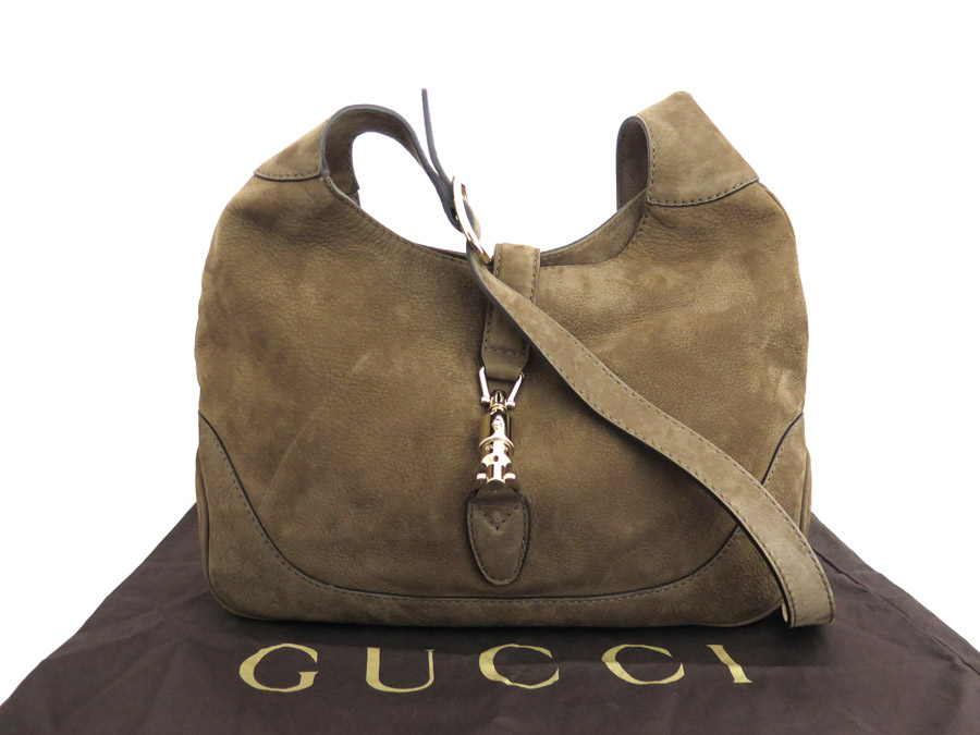 3684efce39 [basic popularity] [used] Gucci [GUCCI] new Jackie shoulder bag Lady's  brown suede x leather