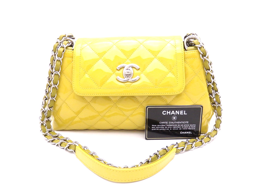 Beautiful Article It Is Chanel Here Mark Matelasse Bag Shoulder Chain Lady S Yellow Patent Leather Used