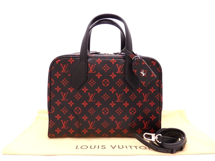 beautiful article  It is Louis Vuitton  LOUIS VUITTON  monogram rouge gong  software MM 2Way bag handbag shoulder bag Lady s men black x red monogram  canvas ... 1283d299cc6