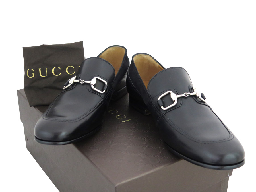 Gucci Gucci leather shoes hose bit black x silver metal fittings leather  shoes loafer men , e29490