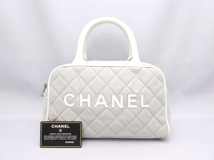 ae3c4568cb039b Chanel CHANEL bag logo sports line mini-Boston bag light gray x white x  silver ...
