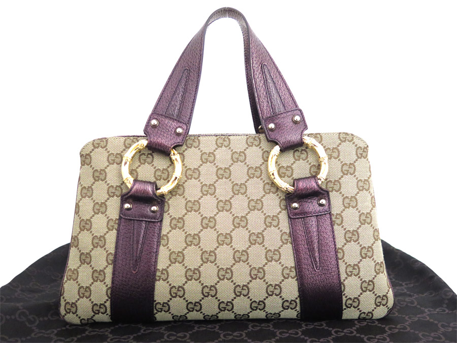 Gucci Bag Gg Canvas Metal Bamboo 131324 Brown X Purple Gold Ings Leather Handbag Tote Lady S E29752