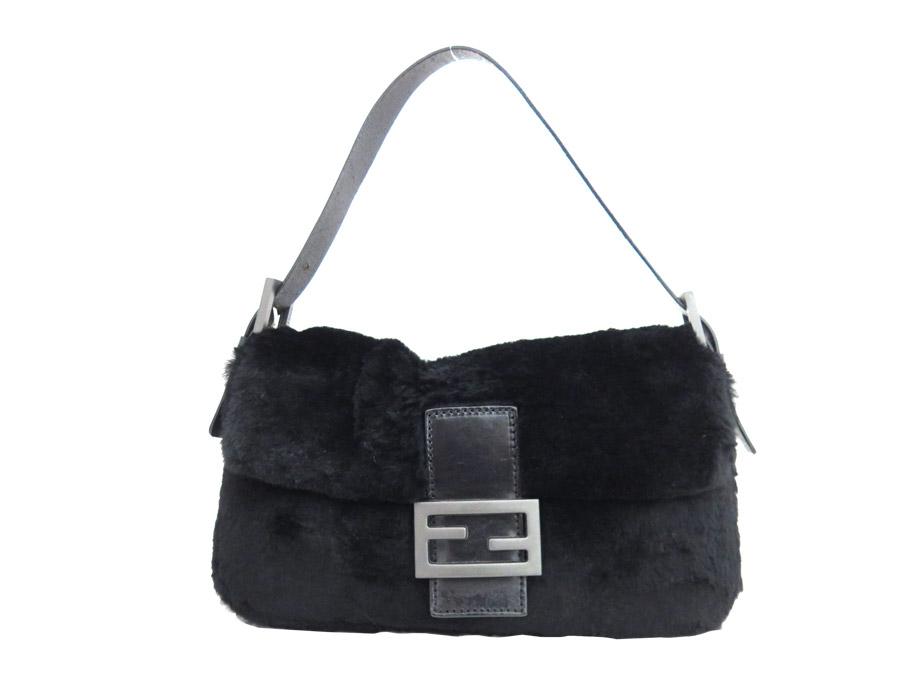 Fendi Bag Baguette Black Fur X Leather Shoulder Handbag Lady S E29996
