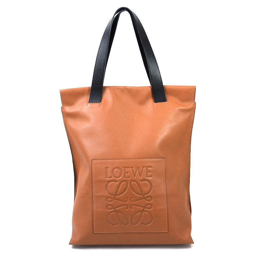 d03976466f92 [basic popularity] [used] x black leather of Loewe [LOEWE] logogriph shopper  bag handbag tote bag Lady's men Brown line