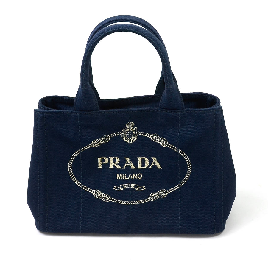 beautiful article  It is Prada  PRADA  カナパハンドバッグトートバッグ 2Way bag lady  BALTICO (navy) canvas  used