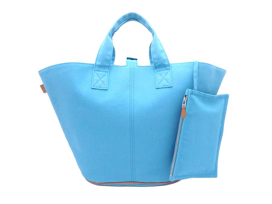 db82bebb9e2 Hermes HERMES bag light blue x brown x silver metal fittings 100% cotton  tote bag handbag Lady s men - e30053
