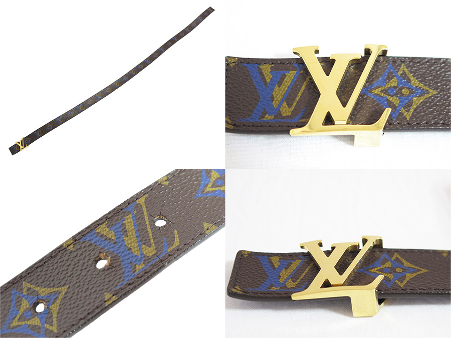 88ca14df8787  basic popularity   used  Louis Vuitton  Louis Vuitton  M9793 monogram  rainbow reversible sun Tulle initial belt men blue x brown monogram canvas