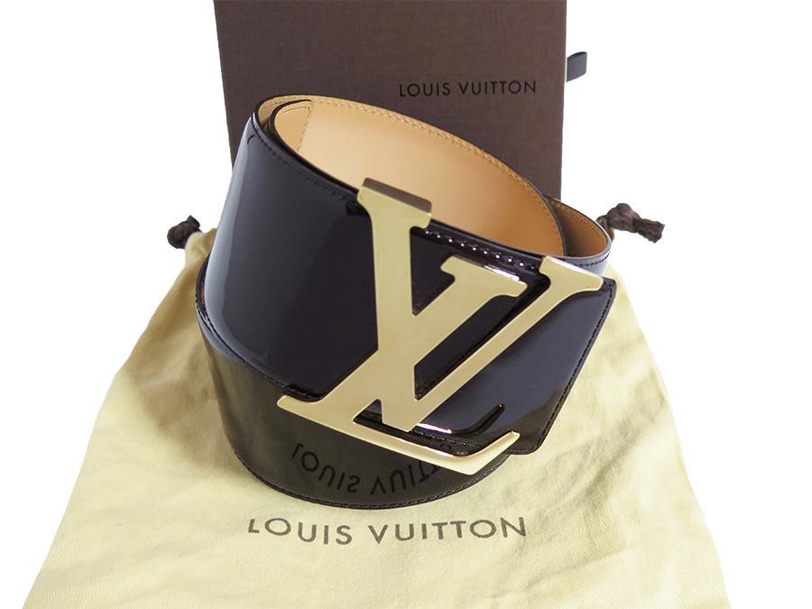 eddbeb338c0d Louis Vuitton Louis Vuitton ベルトヴェルニサンチュールイニシャル M9809 amateur Lunt x gold  metal fittings patent leather waist belt large belt Lady s - ...