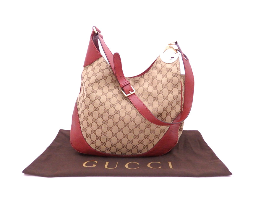 1bf17693c BrandValue: Gucci Gucci bag GG canvas Charlotte 203503 dark red x brown x  gold metal fittings canvas x leather shoulder bag one shoulder Lady's -  e30146 ...