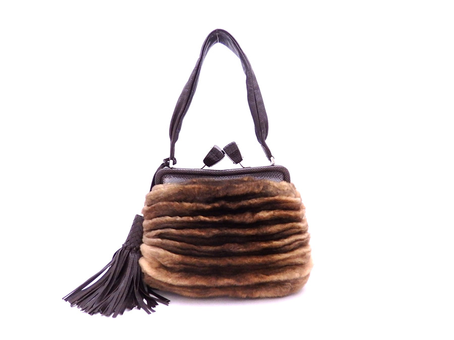 Salvatore Ferragamo Salvatore Ferragamo bag fringe tassel brown x silver  metal fittings fur x leather shoulder bag handbag Lady s - e30299 46399786fd5d0