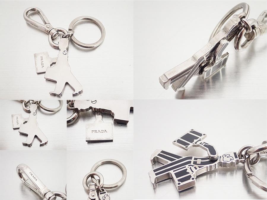 c8bc6a053f27 [basic popularity] [used] Prada [PRADA] porter bag charm key ring key ring  Lady's men black x silver metal material x enamel