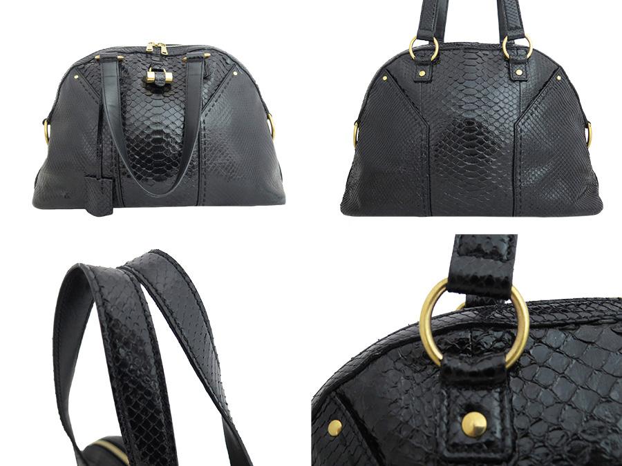 4be25221e5c It is Yves Saint-Laurent [Yves Saint Laurent] Muses shoulder bag handbag  Lady's black x gold python leather [soot] [used]