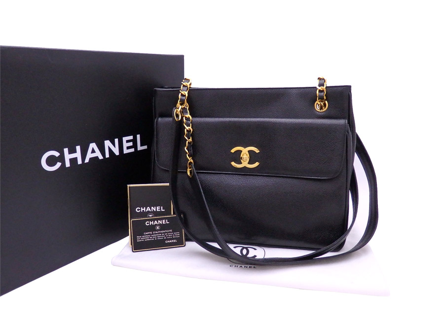 b89ebfeae26c [beautiful article] It is Chanel [CHANEL] here mark bag tote bag shoulder  bag Lady's black x gold metal fittings caviar skin leather [used]