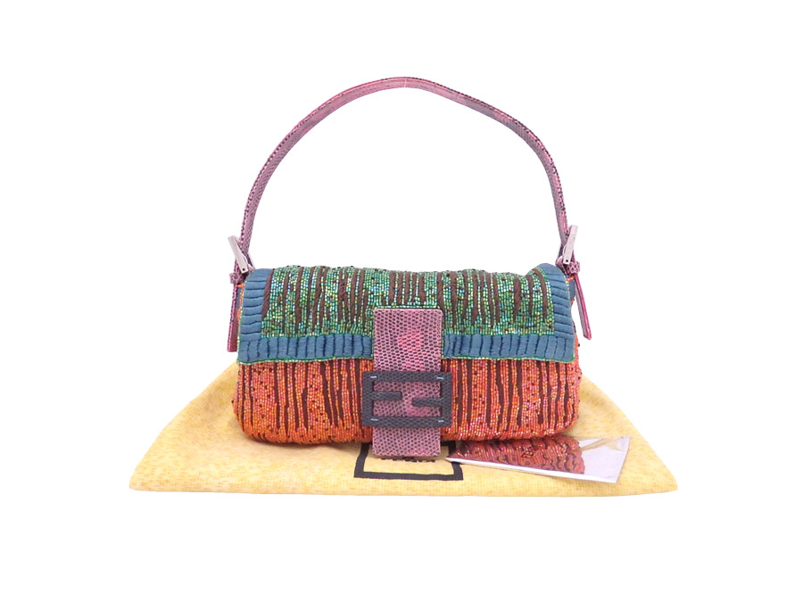 ec29d1a0462e Fendi FENDI bag embroidery baguette pink x multicolored embroidery x beads  x python leather shoulder bag handbag Lady s - e30499