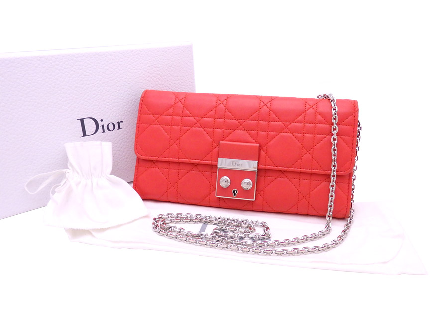 a71f04f2629 Christian Dior Christian Dior folio long wallet Miss Dior rendezvous wallet  orange red x silver metal ...