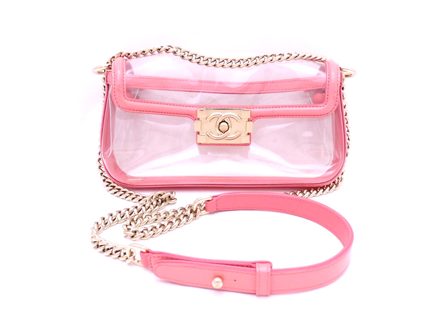 be950022ffaca1 Take Chanel CHANEL bag boy Chanel clear x pink x gold metal fittings vinyl shoulder  bag ...