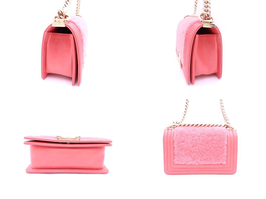샤넬 CHANEL 가방 보이 샤넬 플랩 체인 숄더백 사몬 핑크 x골드 쇠장식 무톤 퍼 x빈티지 가공 레더 숄더백경사째하는 도중 밧그레디스 e30895
