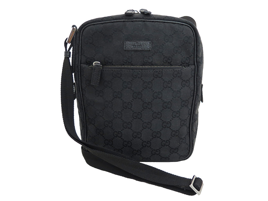 3649dd0acd7d [basic popularity] [used] take Gucci [GUCCI] GG canvas bag shoulder bag  slant; bag Lady's men black x silver metal fittings canvas x leather