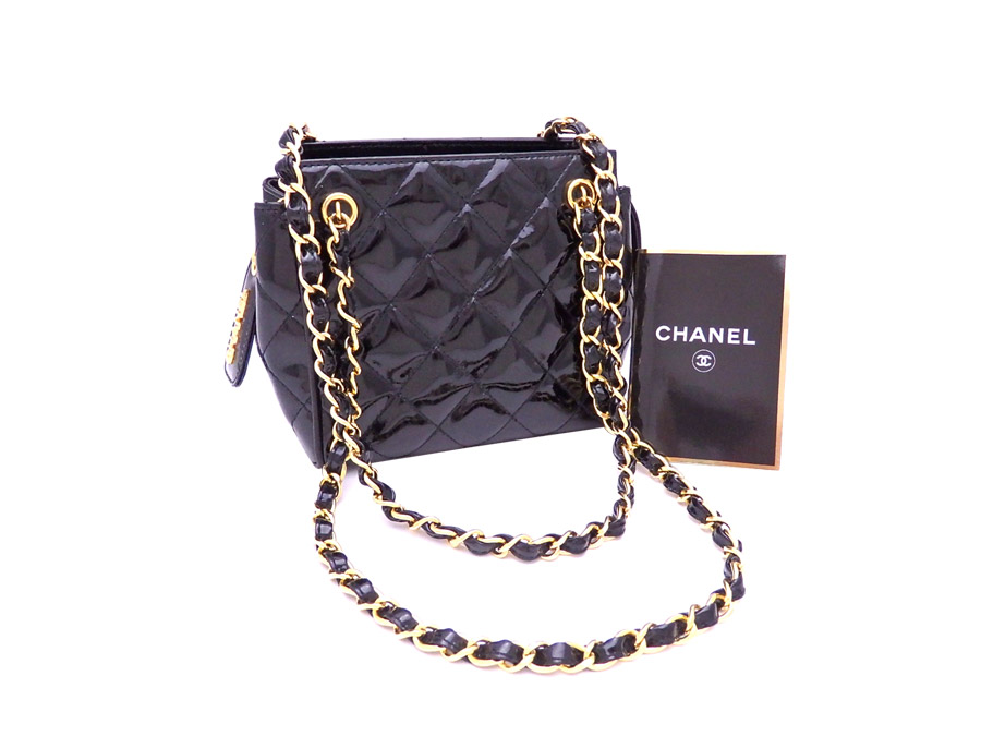 fa00d78c1126 [basic popularity] [used] Chanel [CHANEL] matelasse bag chain shoulder bag  tote bag Lady's black x gold metal fittings patent leather