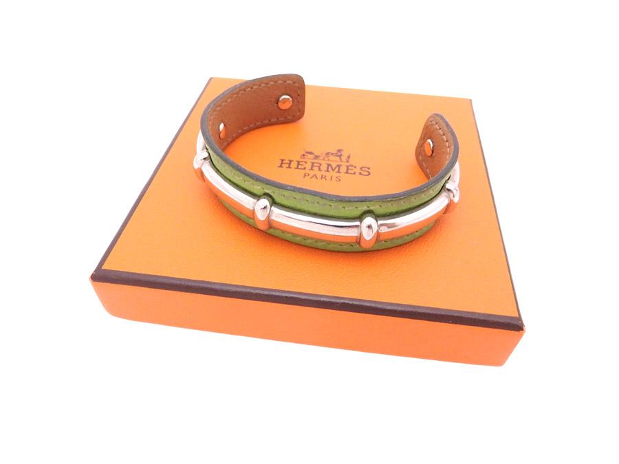773d195f4e9 ... germany it is a hermes hermes bangle bracelet leather breath ladys men  light green x silver