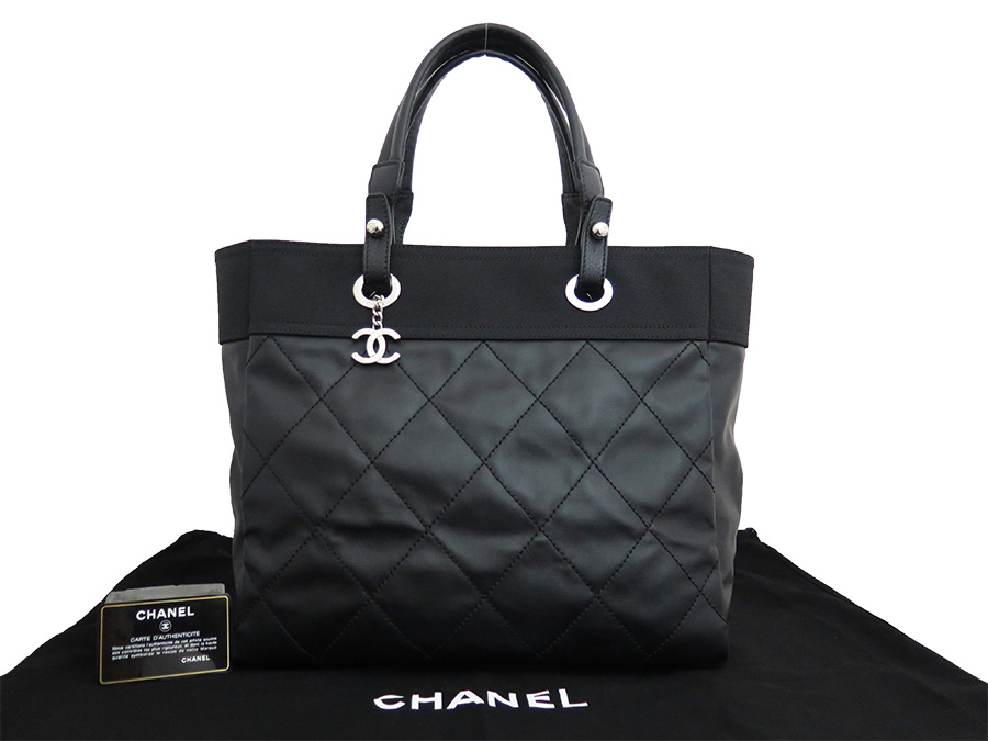 0af529ff3853 BrandValue: Chanel CHANEL bag Paris Biarritz Thoth MM black calf-leather x  nylon canvas x silver metal fittings tote bag shoulder bag Lady's - e31291  ...