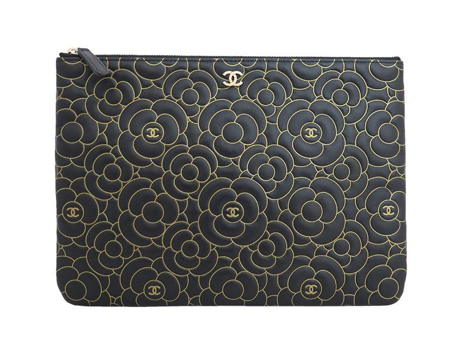 66afd6da32d BrandValue: Chanel CHANEL bag camellia CC mark black x gold lambskin leather  clutch bag evening bag lady - e31293 | Rakuten Global Market
