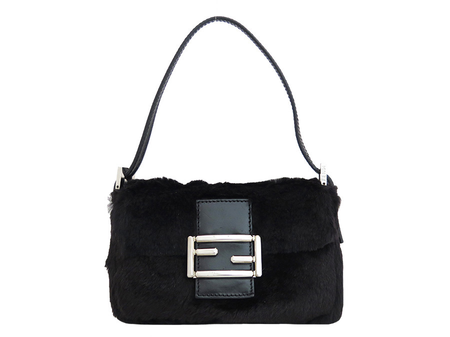 Fendi FENDI bag black fur x leather x silver metal fittings handbag mini-bag  lady - e31300