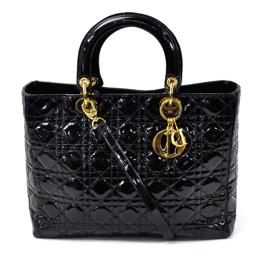 basic popularity   used  Christian Dior  Christian Dior  lady Dior handbag  shoulder bag 2Way bag lady black x gold patent leather e4873f4822b46