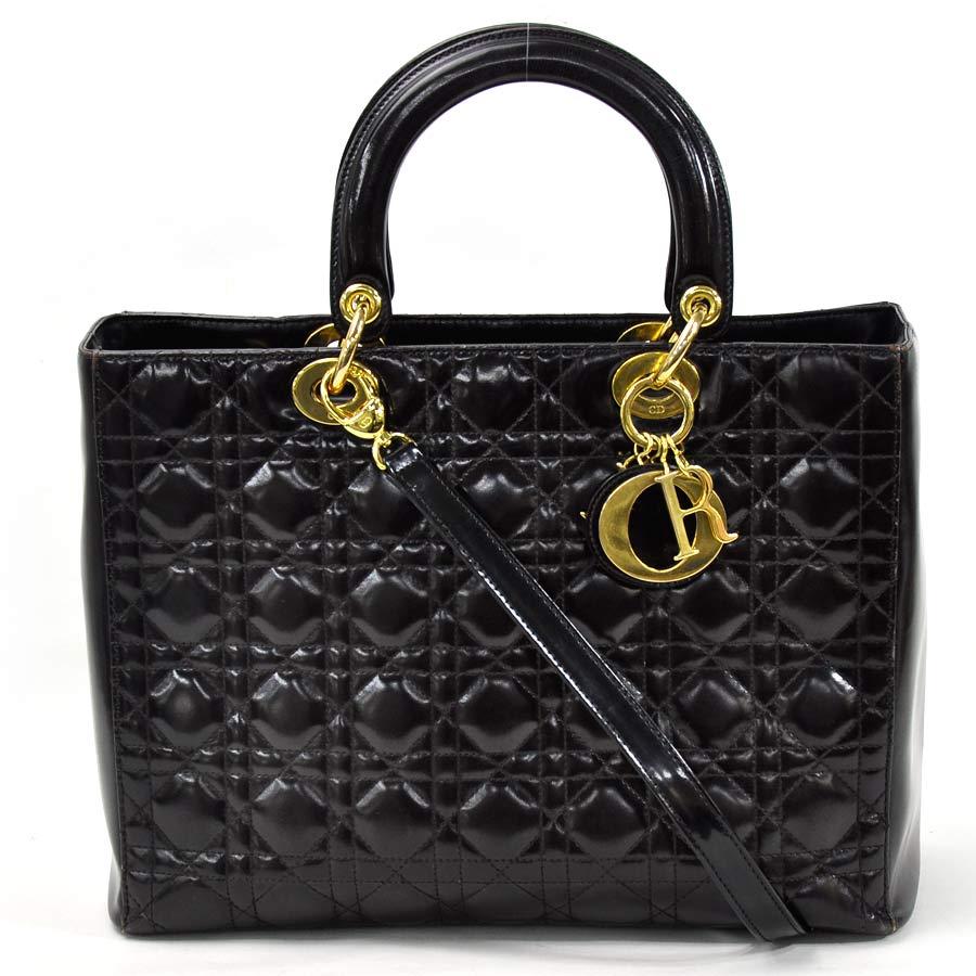 basic popularity   used  Christian Dior  Christian Dior  lady Dior handbag  shoulder bag 2Way bag lady black x gold leather 5f72d51972713