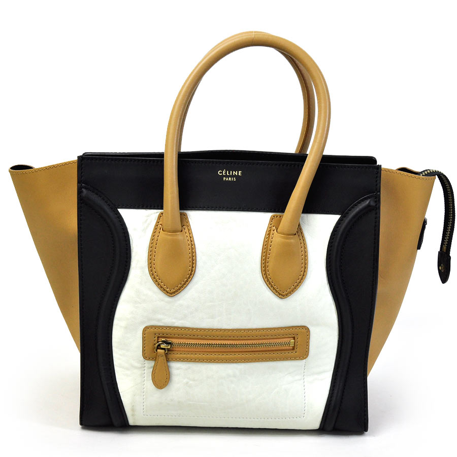 Basic Pority Used Celine Luggage Mini Per Handbag Tote Bag Lady S Black X Beige White Leather