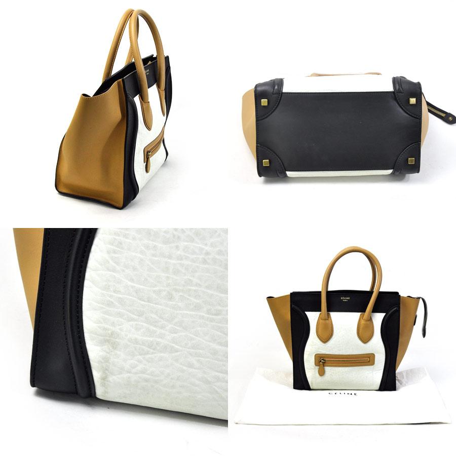 98185d461c08  basic popularity   used  Celine  CELINE  luggage mini-shopper handbag tote  bag Lady s black x beige x white leather